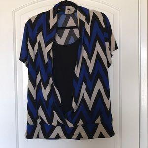 Tops - 1x chevron shirt blue black & tan plus size